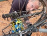 Br� Gearloose is fixing our wrecked hub very creatively